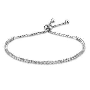 Jewelry - CZ diamonds adjustable silver bracelet